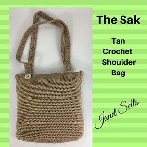The Sak Light Brown Tan Crochet Shoulder Bag